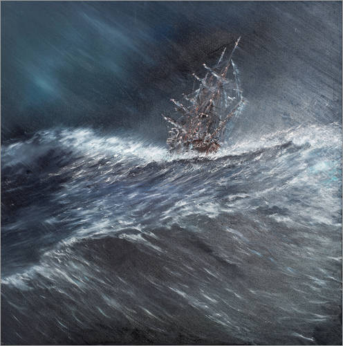 Wall sticker HMS Beagle in a storm at Cape Horn, 1832