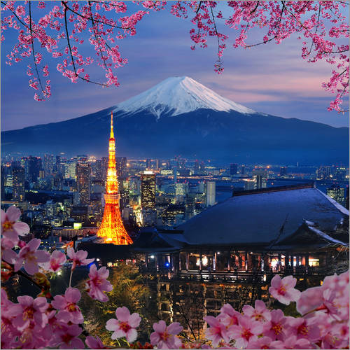 Wall sticker Tokyo tower and Mt. Fuji