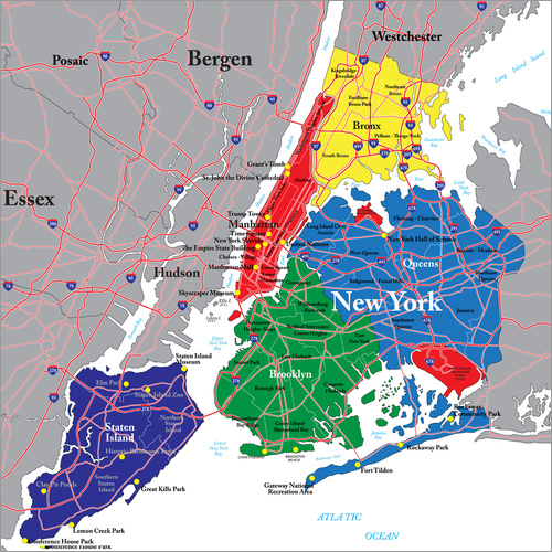 New York City Political Map Posters And Prints Posterlounge Com