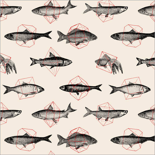 Wall sticker Fishes In Geometrics