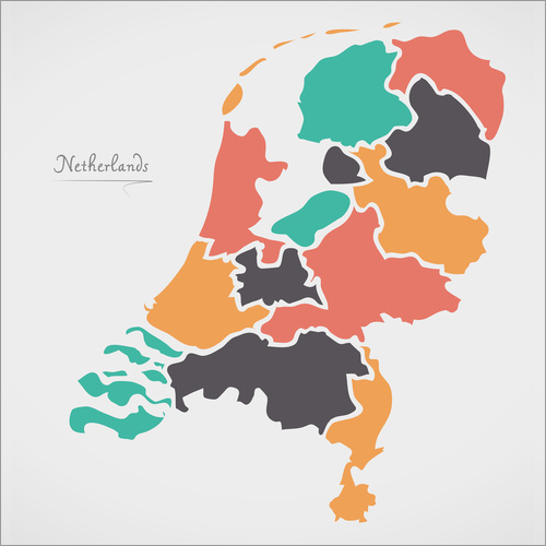 Wall sticker Netherlands map modern abstract with round shapes