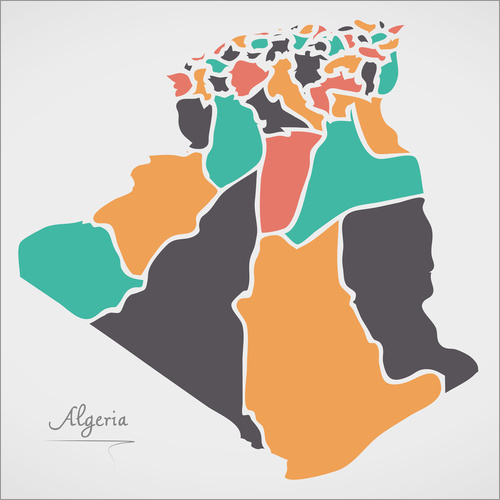 Wall sticker Algeria map modern abstract with round shapes