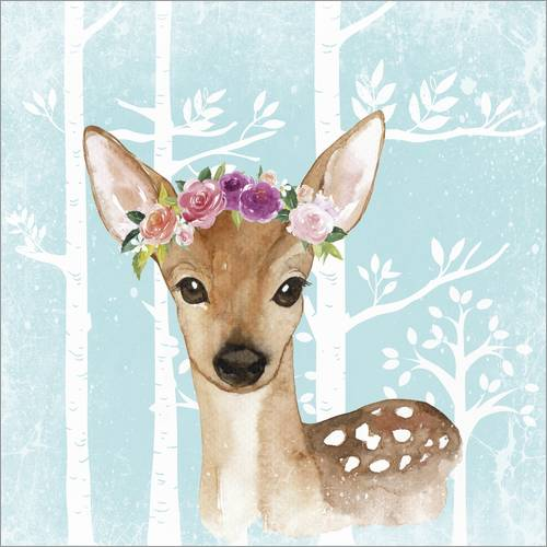 Wall sticker Glamorous fawn with blossoms in the blue forest