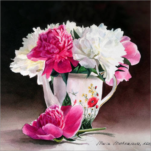 Wall sticker Porcelain and peonies