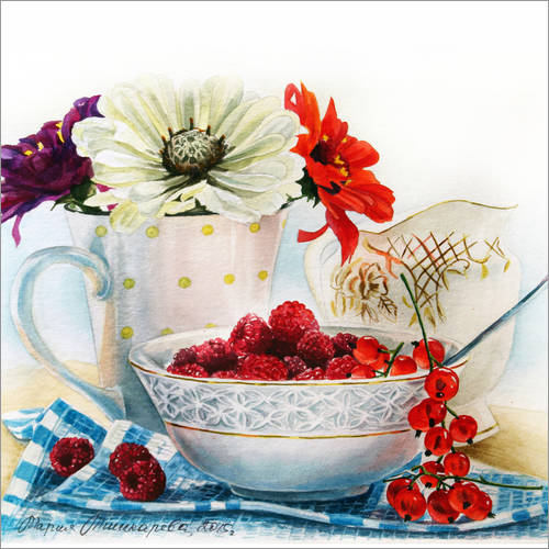 Wall sticker Flowers and berries watercolor painting
