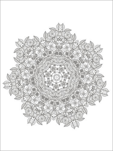 Colouring poster Flower flake