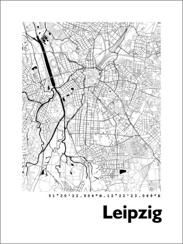 City Map Of Leipzig Posters And Prints Posterlounge Com