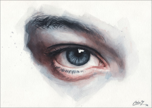 Premium poster Eye study in watercolors