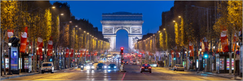 Premium poster Champs Elysees and Arc de Triomphe in Paris