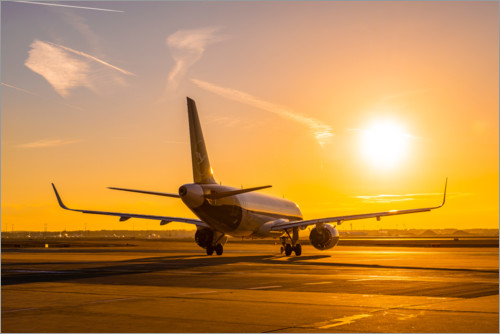 Premium poster Airbus A320 NEO in the morning