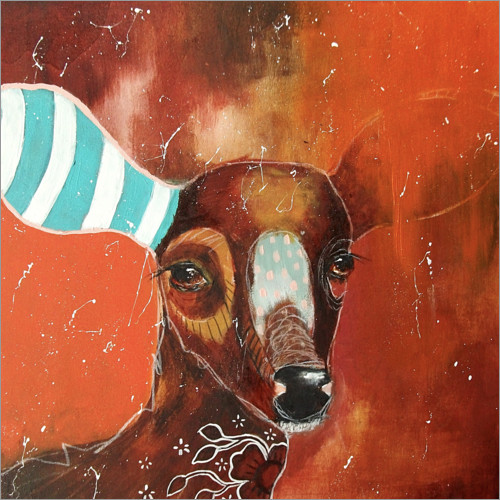 Premium poster Roe deer with striped sock