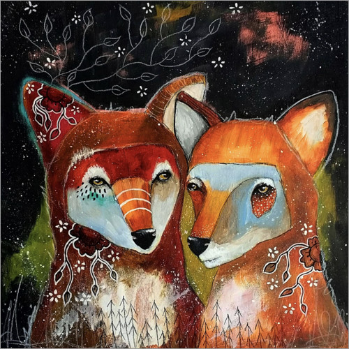 Premium poster Foxes - Home is where you are