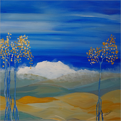 Premium poster Blue Trees And Misty Mountains