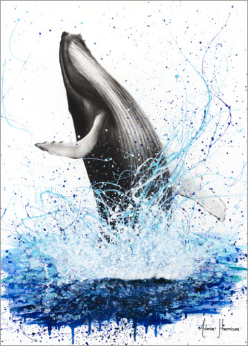 Premium poster Whale breaks to the surface