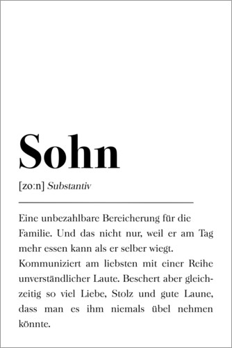 Premium poster Definition of Son (German)