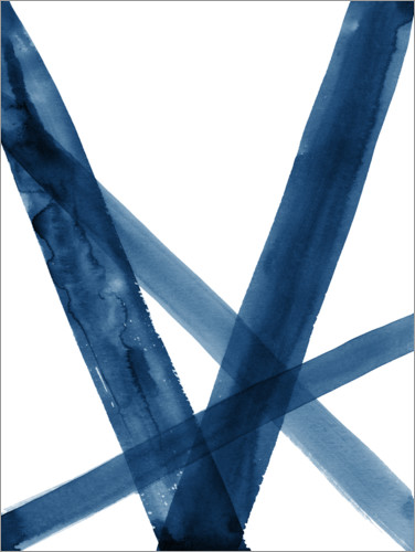 Premium poster Watercolor Lines in Blue II