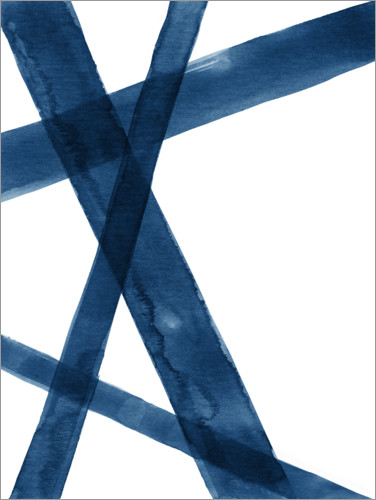 Premium poster Watercolor Lines in Blue I