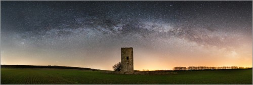 Premium poster Milky way with medieval tower
