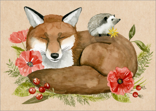 Premium poster Fox and hedgehog rest