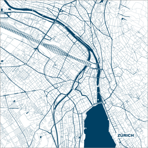Premium poster Colored city map of Zurich