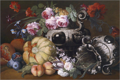 Premium poster Flower and fruit still life with two baroque pompous vases