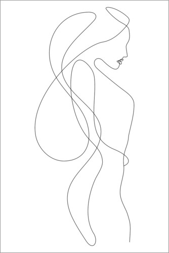 Premium poster Lady with long hair - lineart