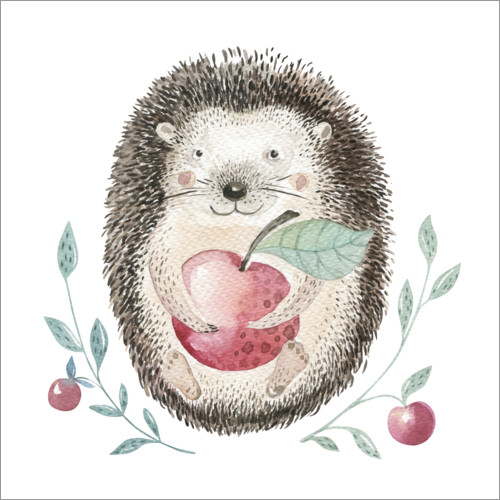 Wall sticker Hedgehog with apple