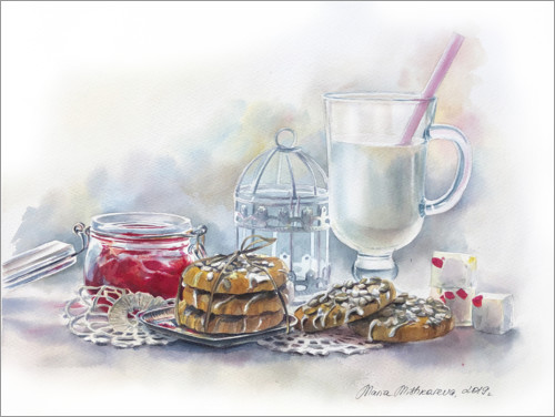 Premium poster Still life with milk and jam