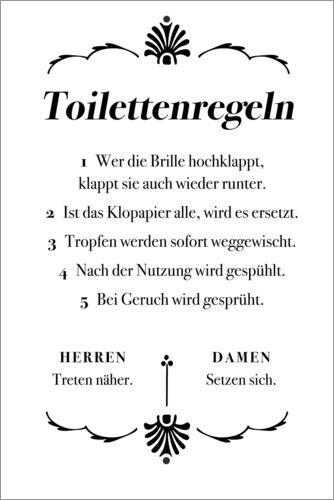 Premium poster Toilet rules (German)