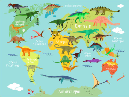 Premium poster World Map with Dinosaurs (French)