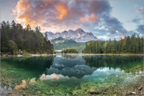 Premium poster Sunrise at the Eibsee with Zugspitze