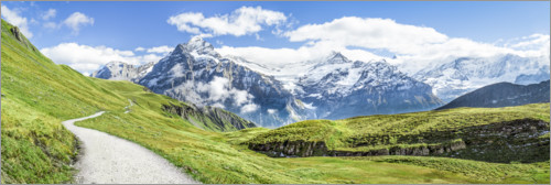 Premium poster Swiss Alps panorama, Grindelwald