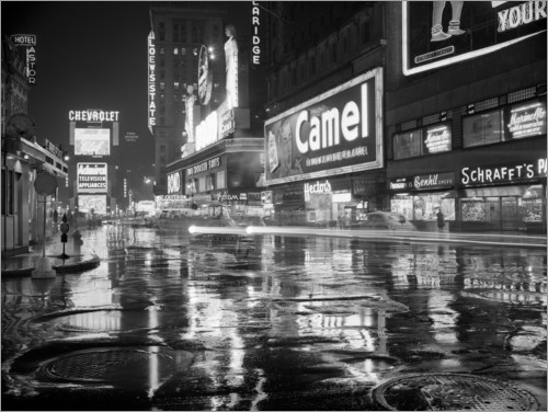 Premium poster Rain in Times Square in New York