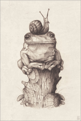 Premium poster The frog and the snail, vintage