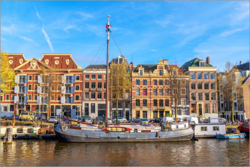 Premium poster Amsterdam canal with boats