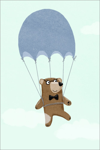 Premium poster Bear with parachute