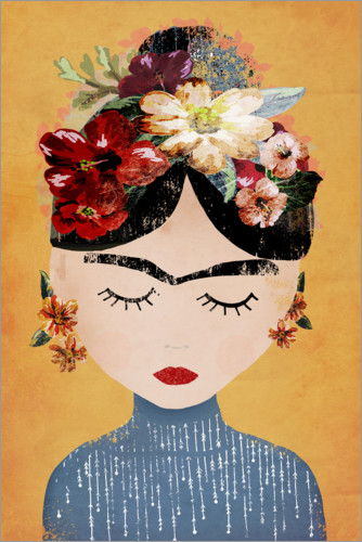 Premium poster Frida with flower wreath