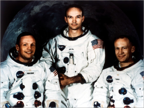 Premium poster Neil Armstrong, Michael Collins and Buzz Aldrin, crew of Apollo 11