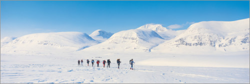 Premium poster Cross-country skiers in Kebnekaise
