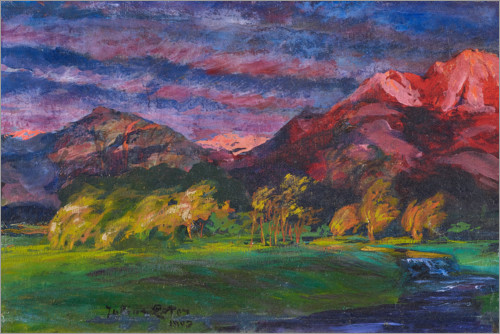 Premium poster Promontory landscape in the sunset