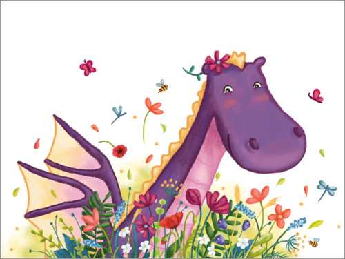 Premium poster Dragon in the flower field
