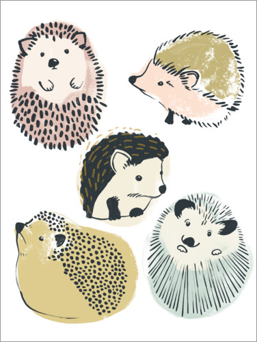 Premium poster Cute hedgehogs II