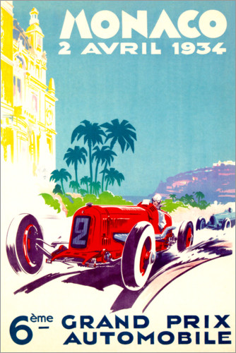 Premium poster Grand Prix of Monaco 1934 (French)