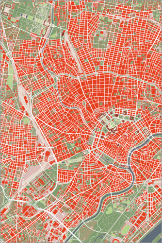 Premium poster City map of Vienna, colorful