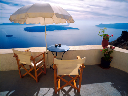 Premium poster Balcony with sea view in Oia