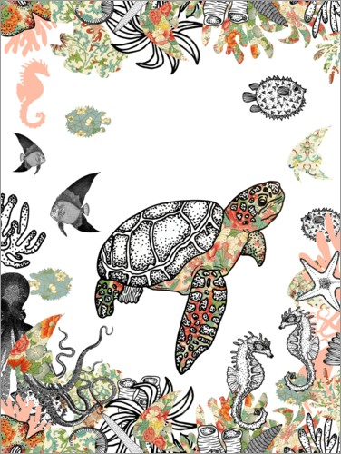 Premium poster Sea turtle in the coral reef