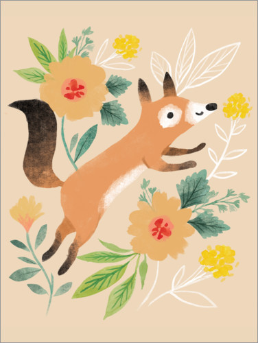 Premium poster Fox with flowers