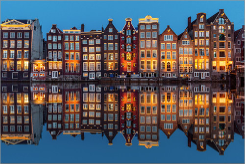 Premium poster Amsterdam row of houses reflected in the water