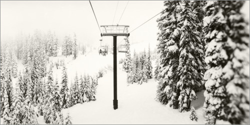 Premium poster Chairlift and snow-covered trees