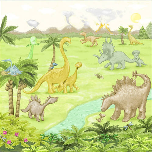 Wall sticker dinosaur landscape